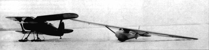 И-15 и планёр Г-9 перед буксировкой на рекордную высоту 10 360 м, 12 марта 1936 г.