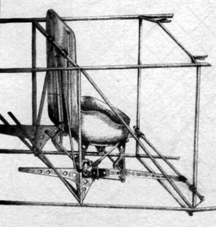 Кресло лётчика и его крепление в фюзеляже